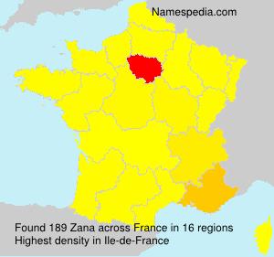Surname Zana in France