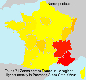 Surname Zanna in France