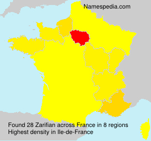 Surname Zarifian in France