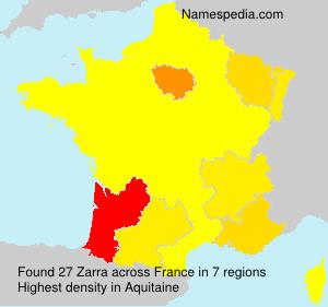 Surname Zarra in France