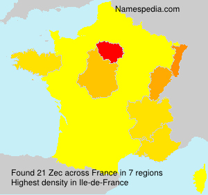 Surname Zec in France