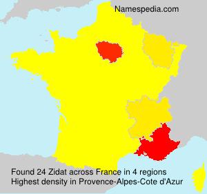 Familiennamen Zidat - France