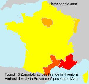 Surname Zorgniotti in France
