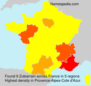Surname Zubiarrain in France