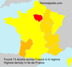 Surname alzetta in France