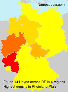 Familiennamen Hayna - Germany