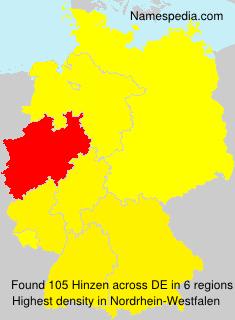 Familiennamen Hinzen - Germany