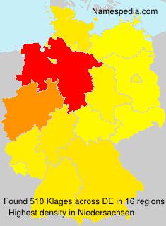 Surname Klages in Germany