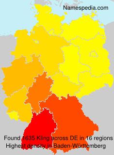 Familiennamen Kling - Germany