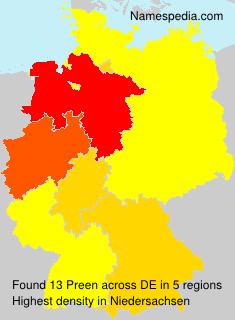 Familiennamen Preen - Germany