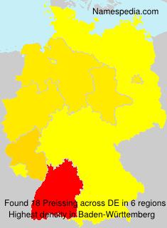 Familiennamen Preissing - Germany