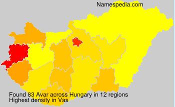 Surname Avar in Hungary