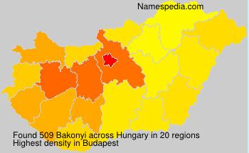 Surname Bakonyi in Hungary