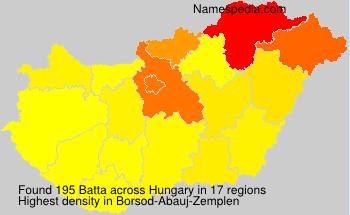 Surname Batta in Hungary