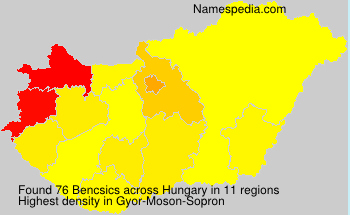 Surname Bencsics in Hungary