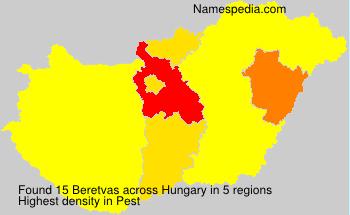 Surname Beretvas in Hungary