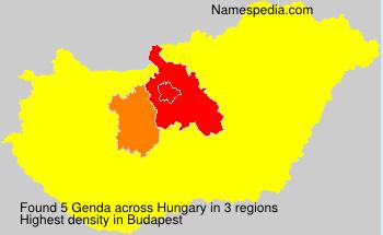 Familiennamen Genda - Hungary