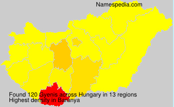 Familiennamen Gyenis - Hungary