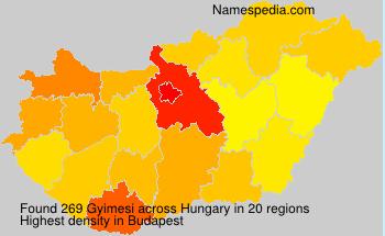Surname Gyimesi in Hungary