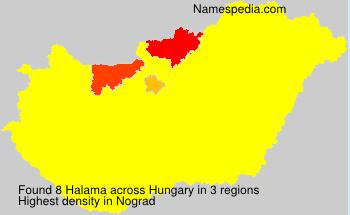 Surname Halama in Hungary