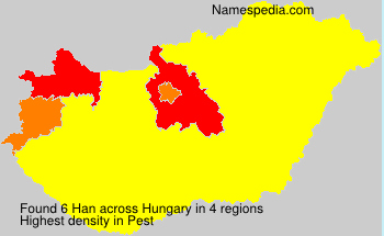 Surname Han in Hungary