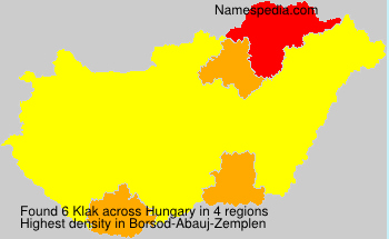 Surname Klak in Hungary