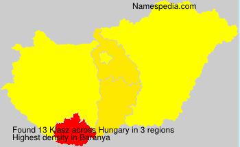 Surname Klasz in Hungary
