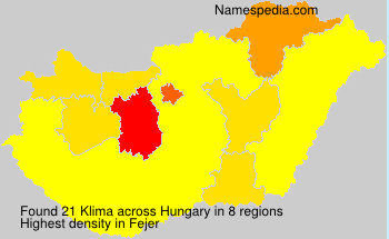 Familiennamen Klima - Hungary