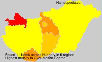 Familiennamen Kotek - Hungary
