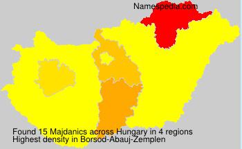 Surname Majdanics in Hungary