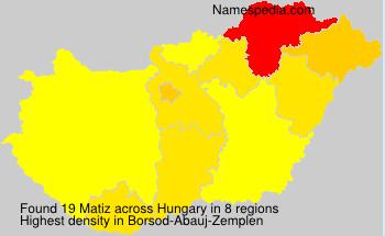 Surname Matiz in Hungary