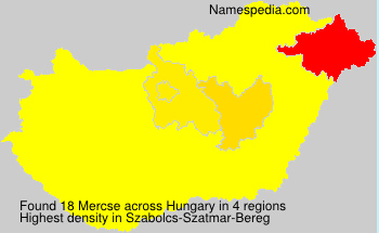 Surname Mercse in Hungary
