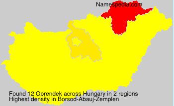 Surname Oprendek in Hungary