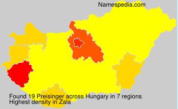 Surname Preisinger in Hungary