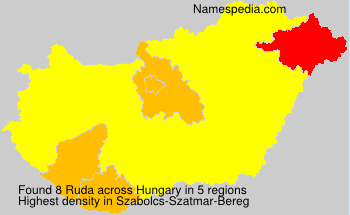 Surname Ruda in Hungary