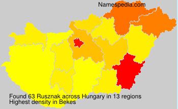 Surname Rusznak in Hungary
