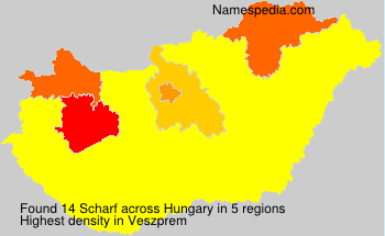 Familiennamen Scharf - Hungary