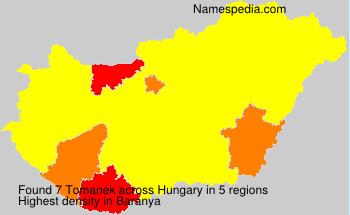 Surname Tomanek in Hungary