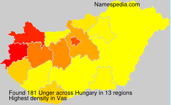 Surname Unger in Hungary