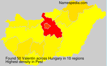 Surname Valentin in Hungary