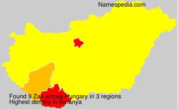 Familiennamen Zak - Hungary