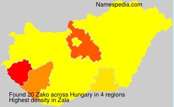 Familiennamen Zako - Hungary