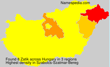 Surname Zatik in Hungary