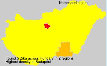 Familiennamen Zika - Hungary
