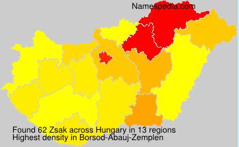Surname Zsak in Hungary
