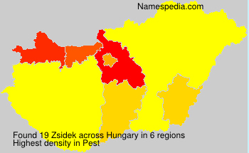 Surname Zsidek in Hungary