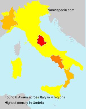 Familiennamen Avana - Italy