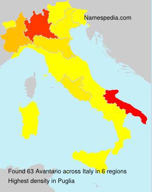 Familiennamen Avantario - Italy