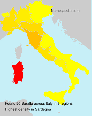 Surname Baralla in Italy