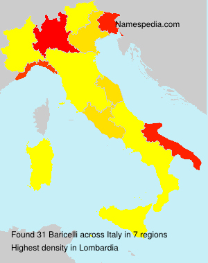 Surname Baricelli in Italy